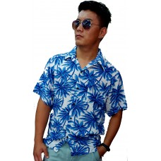 Flower printed blue shirt