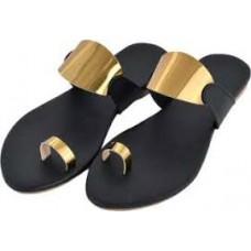 Golden,Black Flats Sandal
